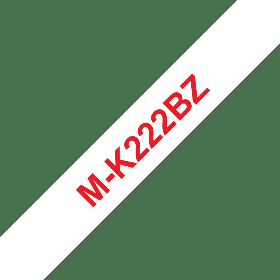 Original Brother MK222BZ merketape – rød på hvit, 9 mm bred 2