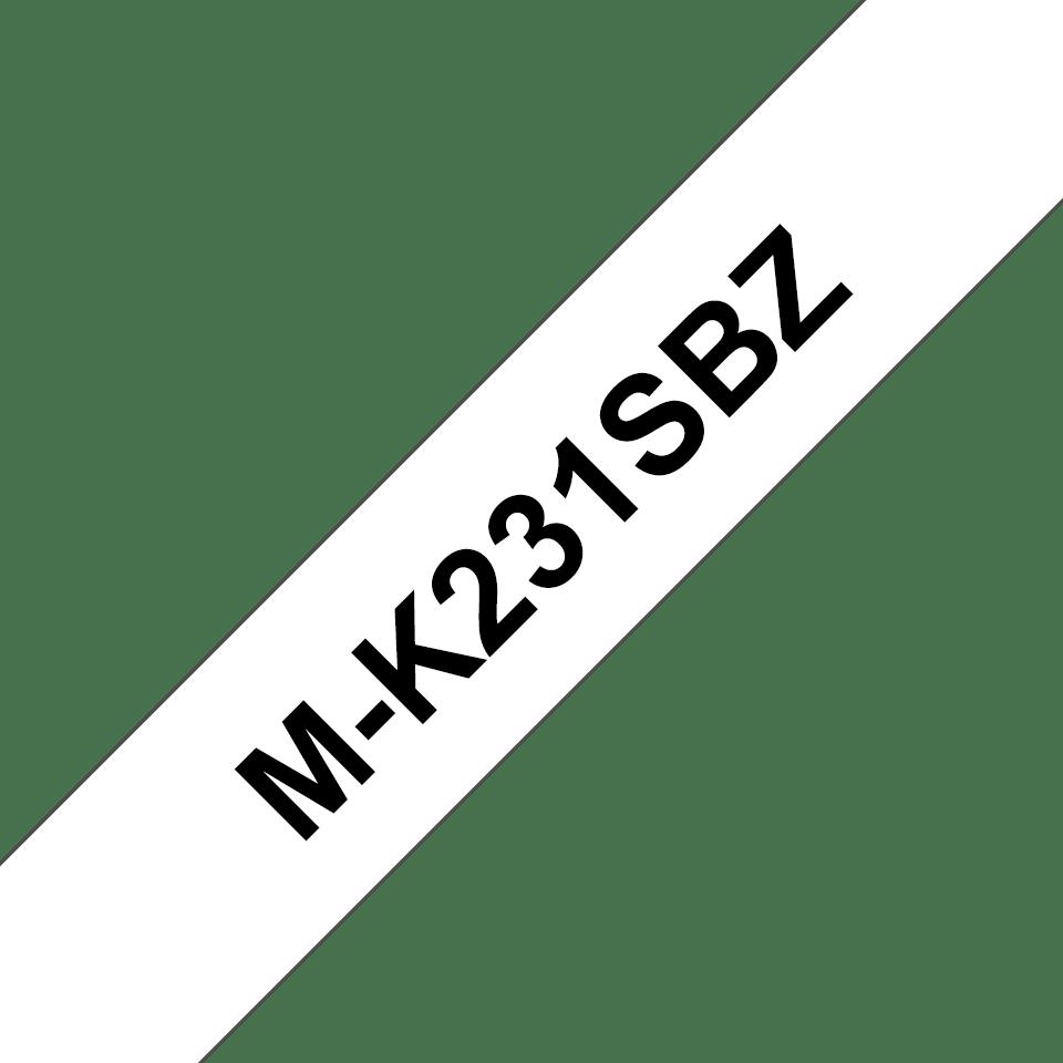 Original Brother MK231SBZ merketape – sort på hvit, 12 mm bred 2