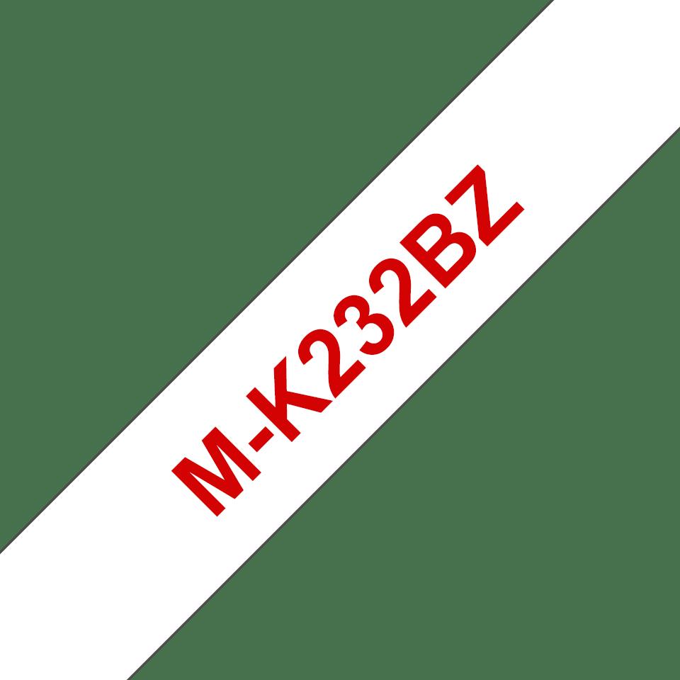 Original Brother MK232BZ merketape – rød på hvit, 12mm bred