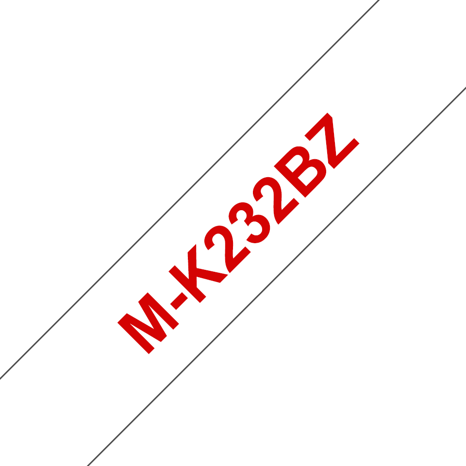 Original Brother MK232BZ merketape – rød på hvit, 12mm bred 2