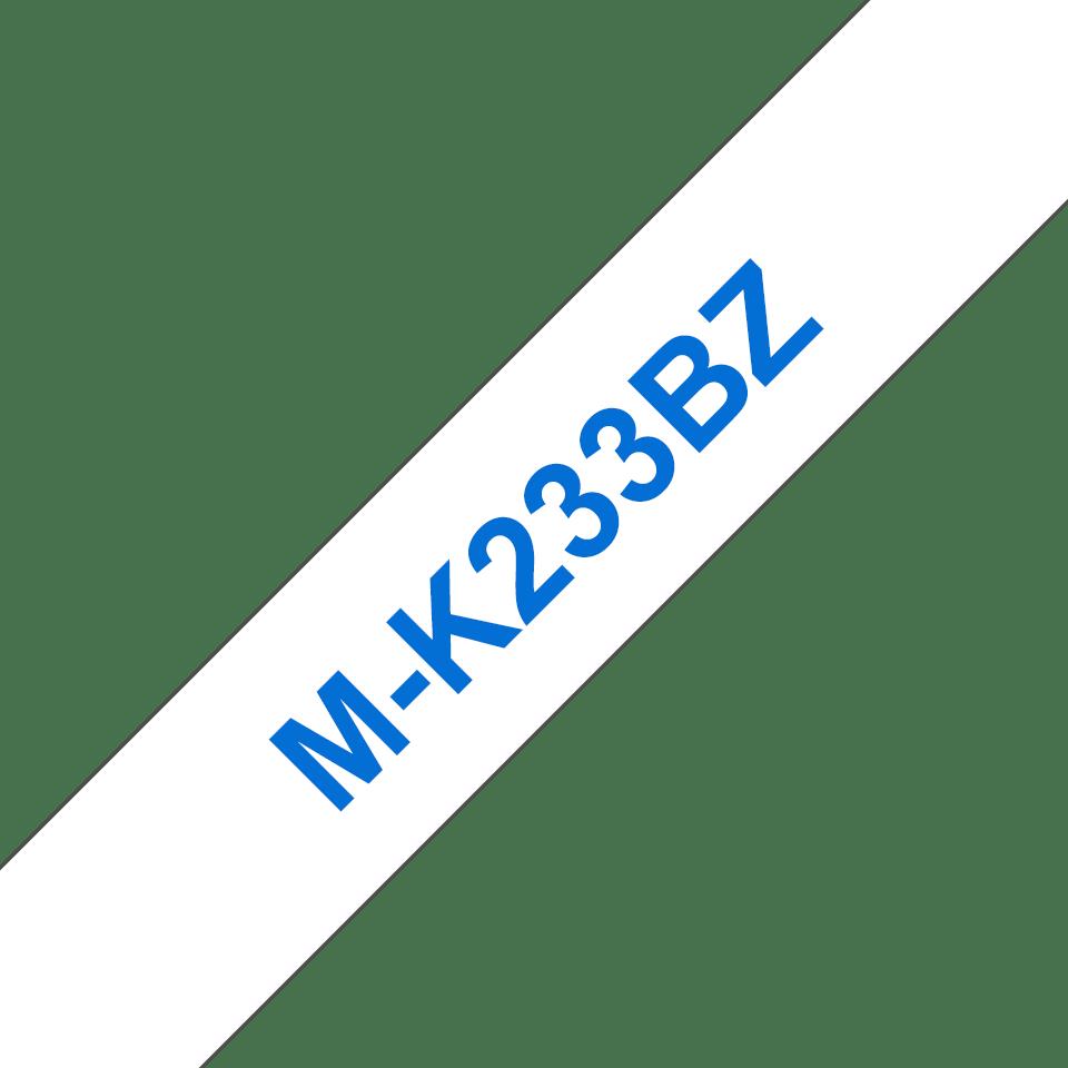 Original Brother MK233BZ merketape – blå på hvit, 12mm bred