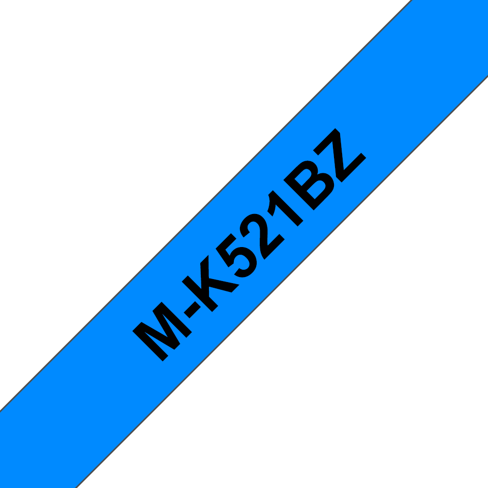 Original Brother MK521BZ merketape – sort på blå, 9 mm bred 2