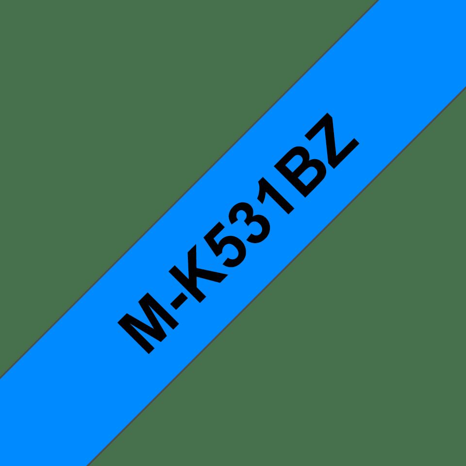 Original Brother MK531BZ merketape – sort på blå, 12 mm bred