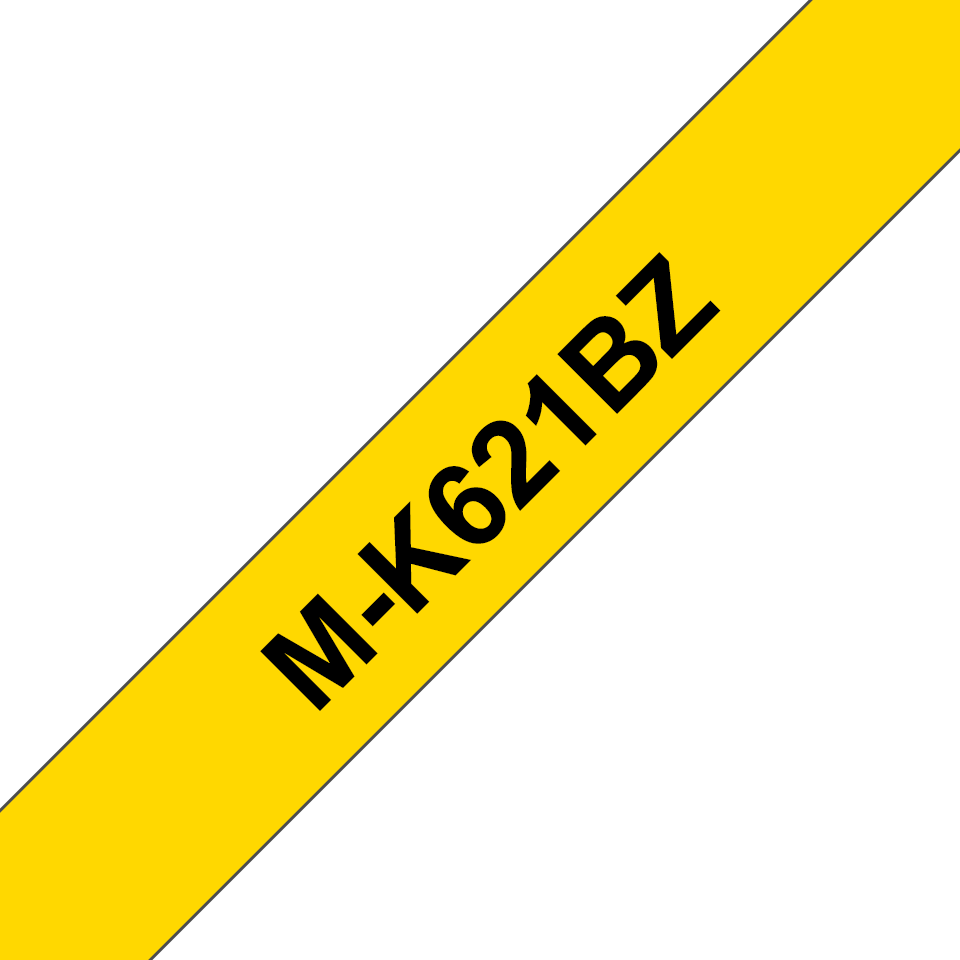 Original Brother MK621BZ merketape – sort på gul, 9 mm bred
