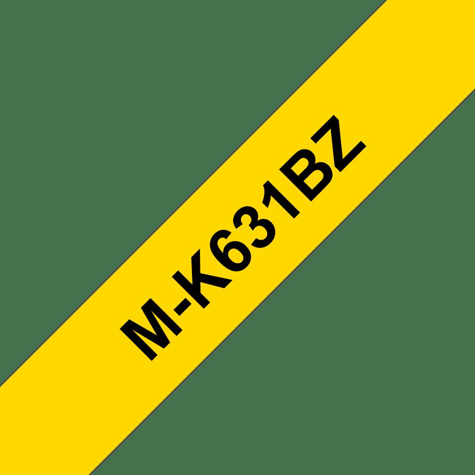 Original Brother MK631BZ merketape – sort på gul, 12 mm bred 2