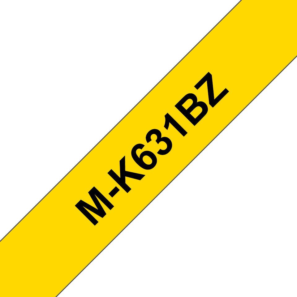 Original Brother MK631BZ merketape – sort på gul, 12 mm bred 2