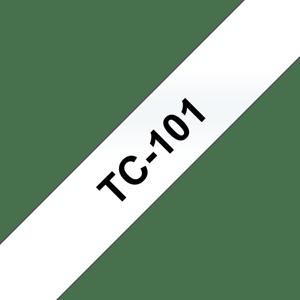Original Brother TC101 merketape – sort på klar, 12 mm bred