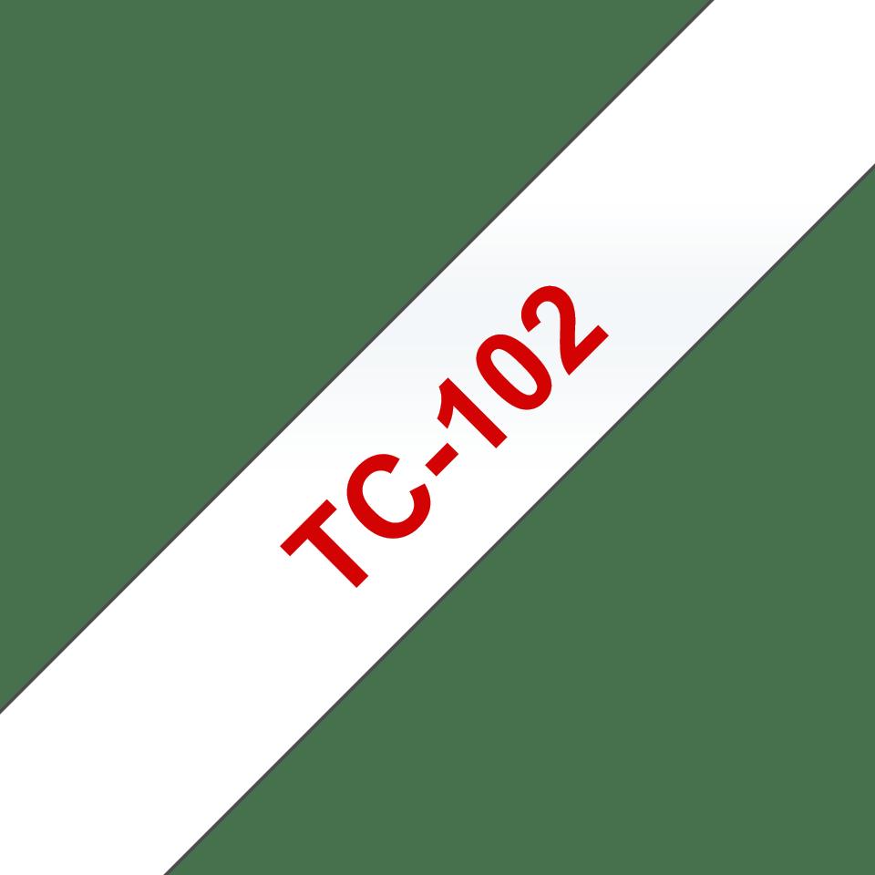 Original Brother TC102 merketape – rød på klar, 12 mm bred
