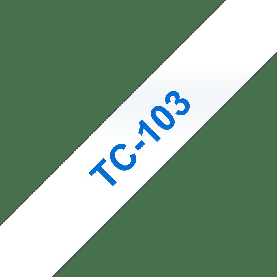Original Brother TC103 merketape – blå på klar, 12 mm bred