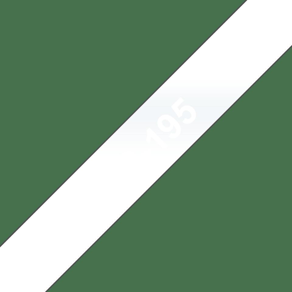 Original Brother TC195 merketape – hvit på klar, 9 mm bred