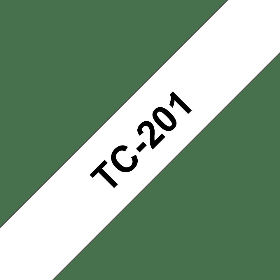 Original Brother TC201 merketape – sort på hvit, 12 mm bred