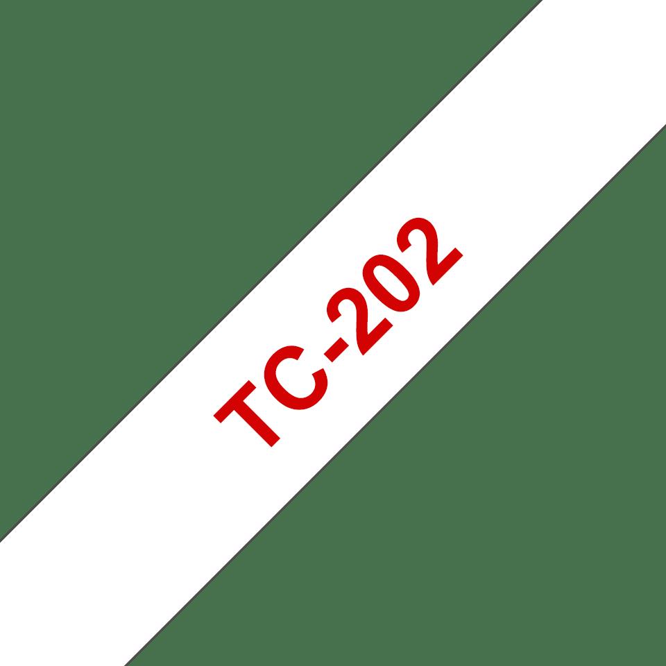 Original Brother TC202 merketape – rød på hvit, 12 mm bred