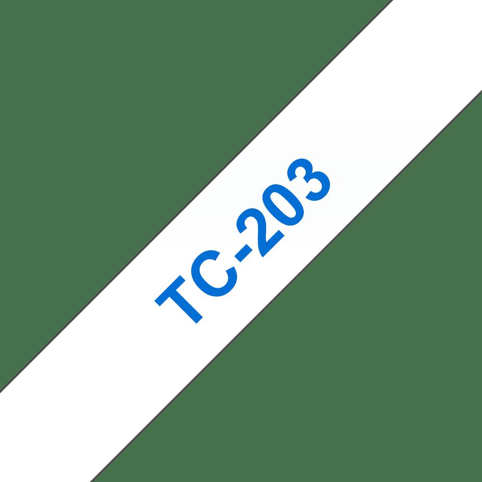 Original Brother TC203 merketape – blå på hvit, 12 mm bred