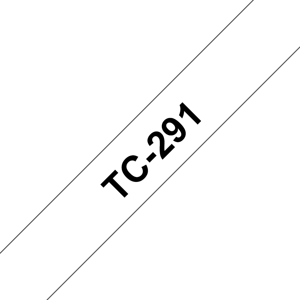 Original Brother TC291 merketape – sort på hvit, 9 mm bred