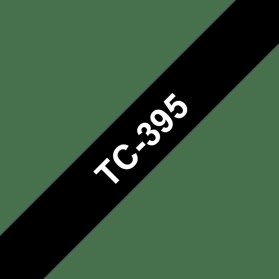 Original Brother TC395 merketape – hvit på sort, 9 mm bred