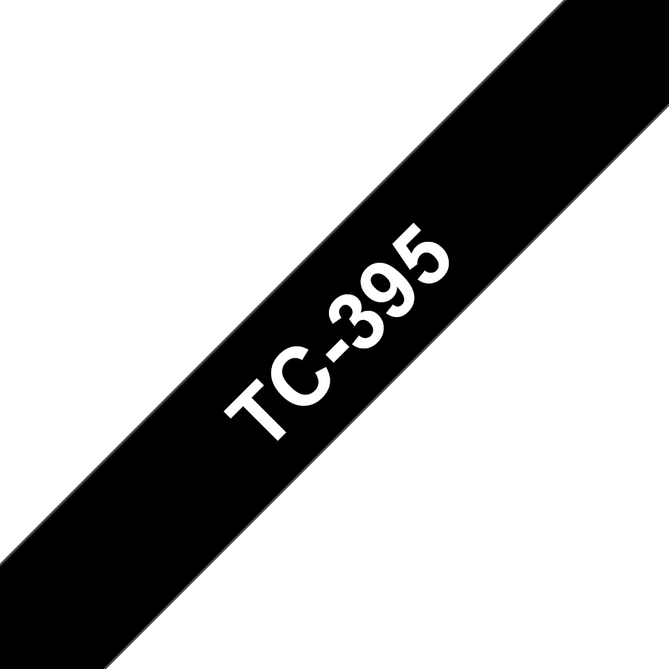 Original Brother TC395 merketape – hvit på sort, 9 mm bred