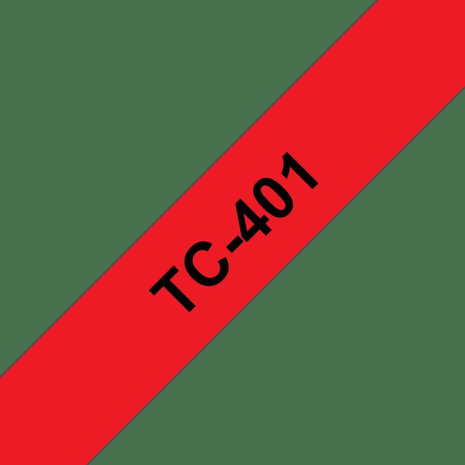 Original Brother TC401 merketape – sort på rød, 12 mm bred
