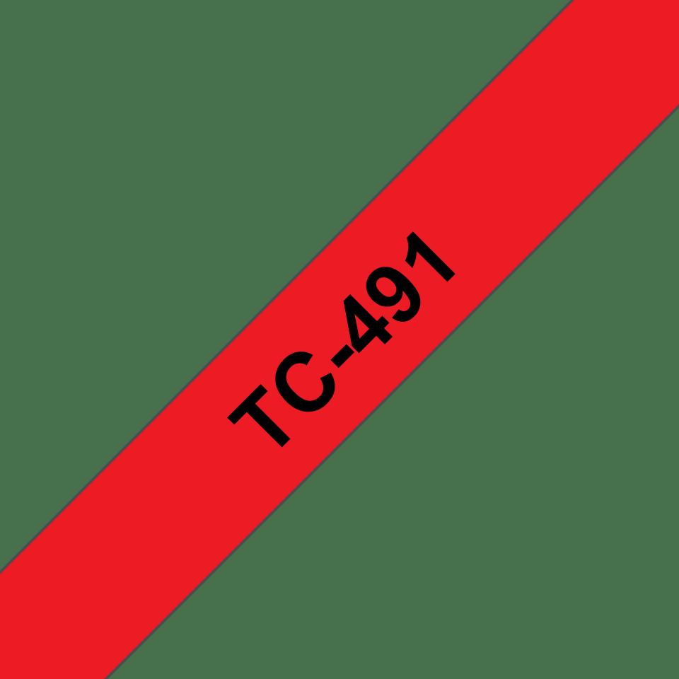 Original Brother TC491 merketape – sort på rød, 9 mm bred