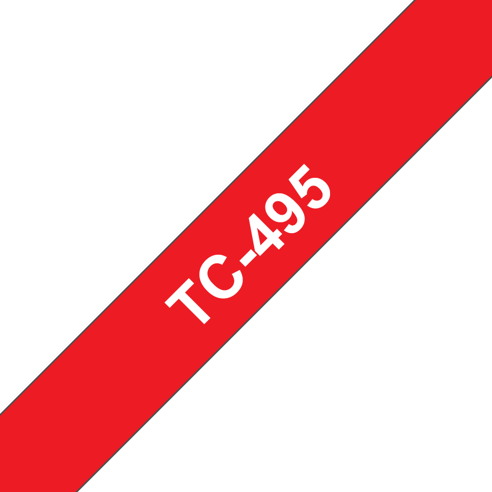 Original Brother TC495 merketape – hvit på rød, 9 mm bred