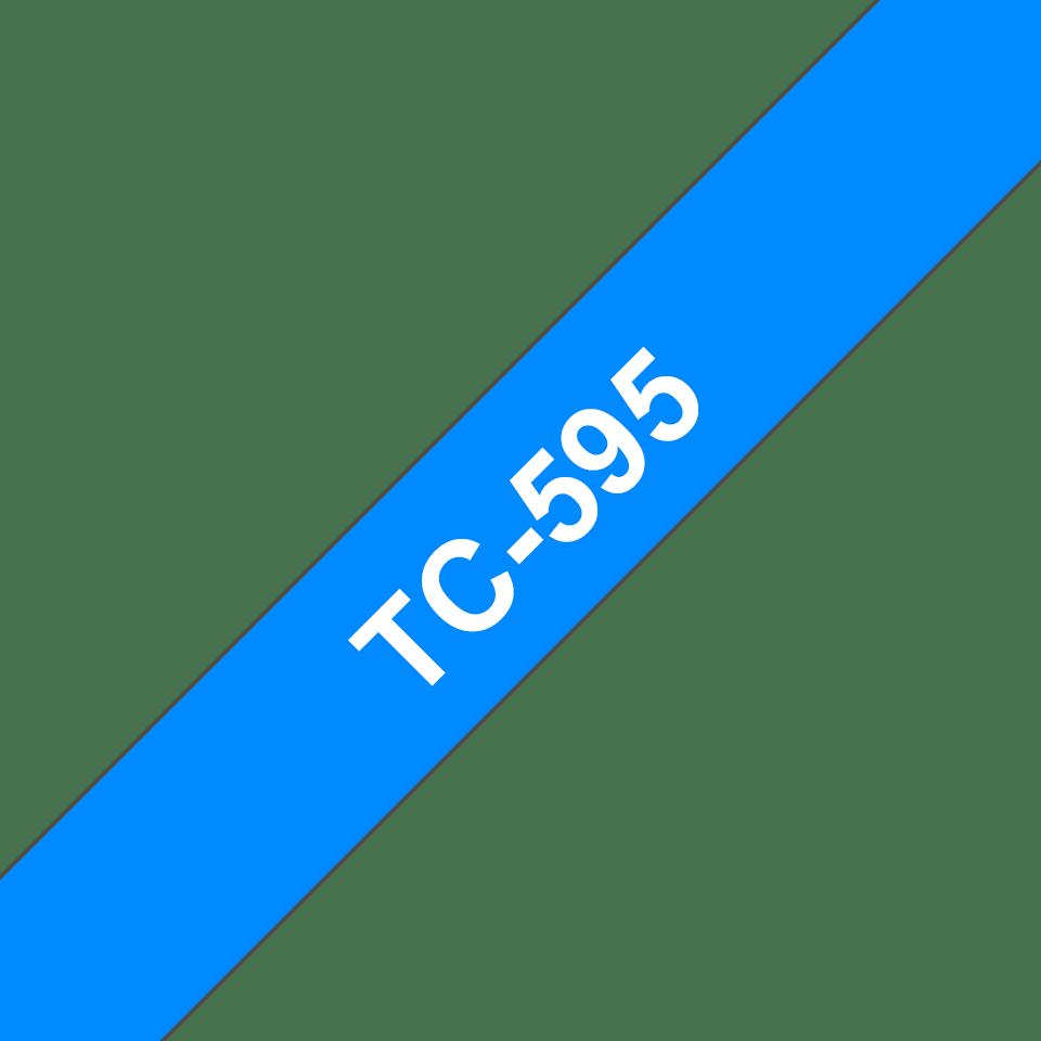 Original Brother TC595 merketape – hvit på blå, 9 mm bred