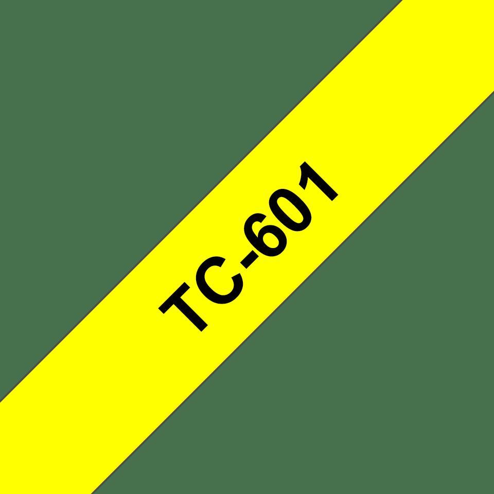 Original Brother TC601 merketape – sort på gul, 12 mm bred