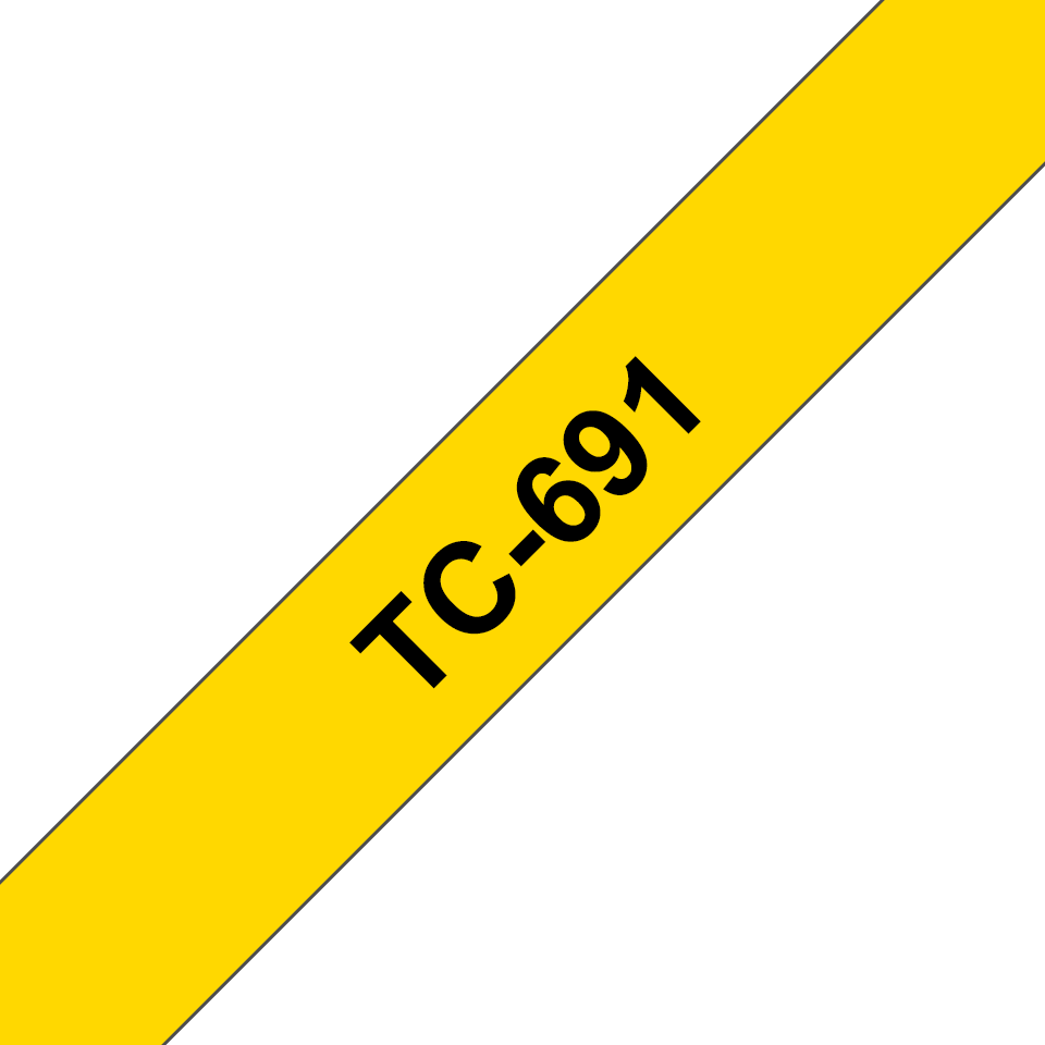 Original Brother TC691 merketape – sort på gul, 9 mm bred