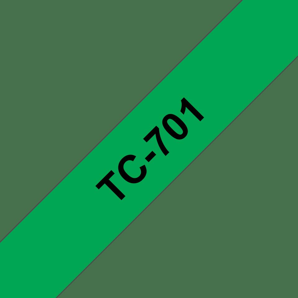 Original Brother TC701 merketape – sort på grønn, 12 mm bred