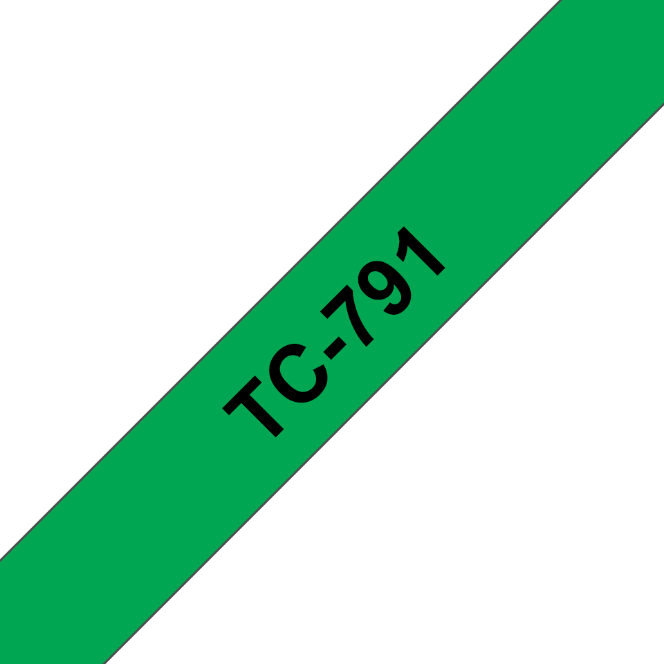 Original Brother TC791 merketape – sort på grønn, 9 mm bred