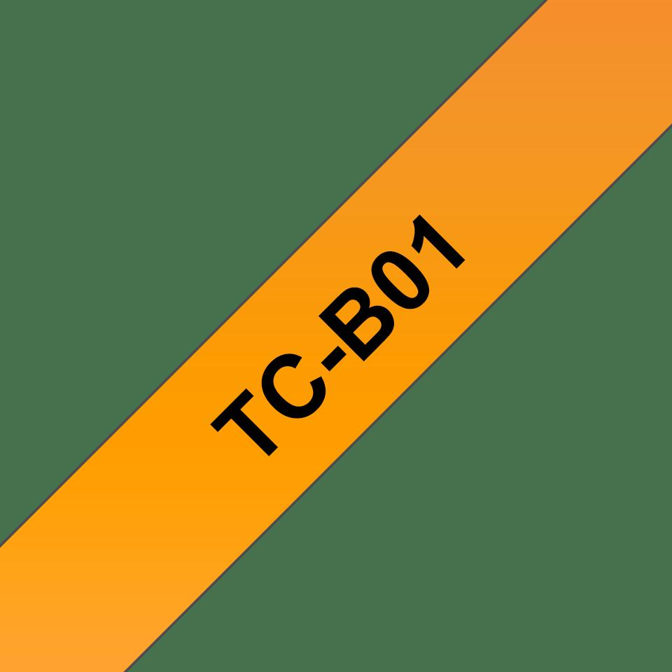 Original Brother TCB01 merketape  – sort på fluorescerende oransje, 12 mm bred