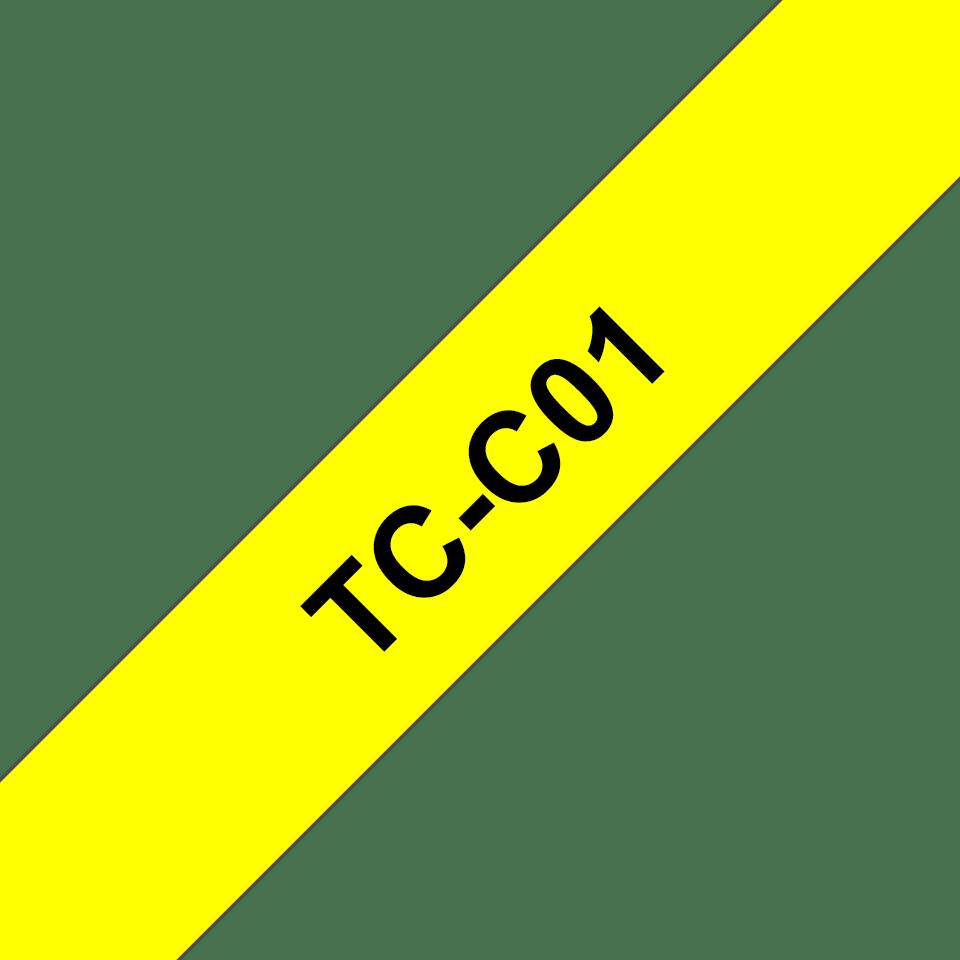 Original Brother TCC01 merketape  – sort på fluorescerende gul, 12 mm bred