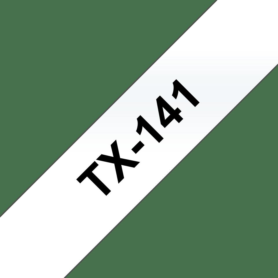 Original Brother TX141 merketape – sort på klar, 18 mm bred