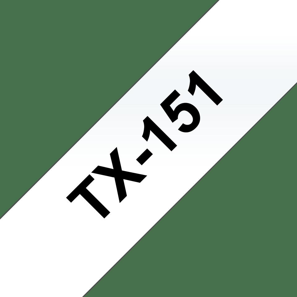 Original Brother TX151 merketape – sort på klar, 24 mm bred