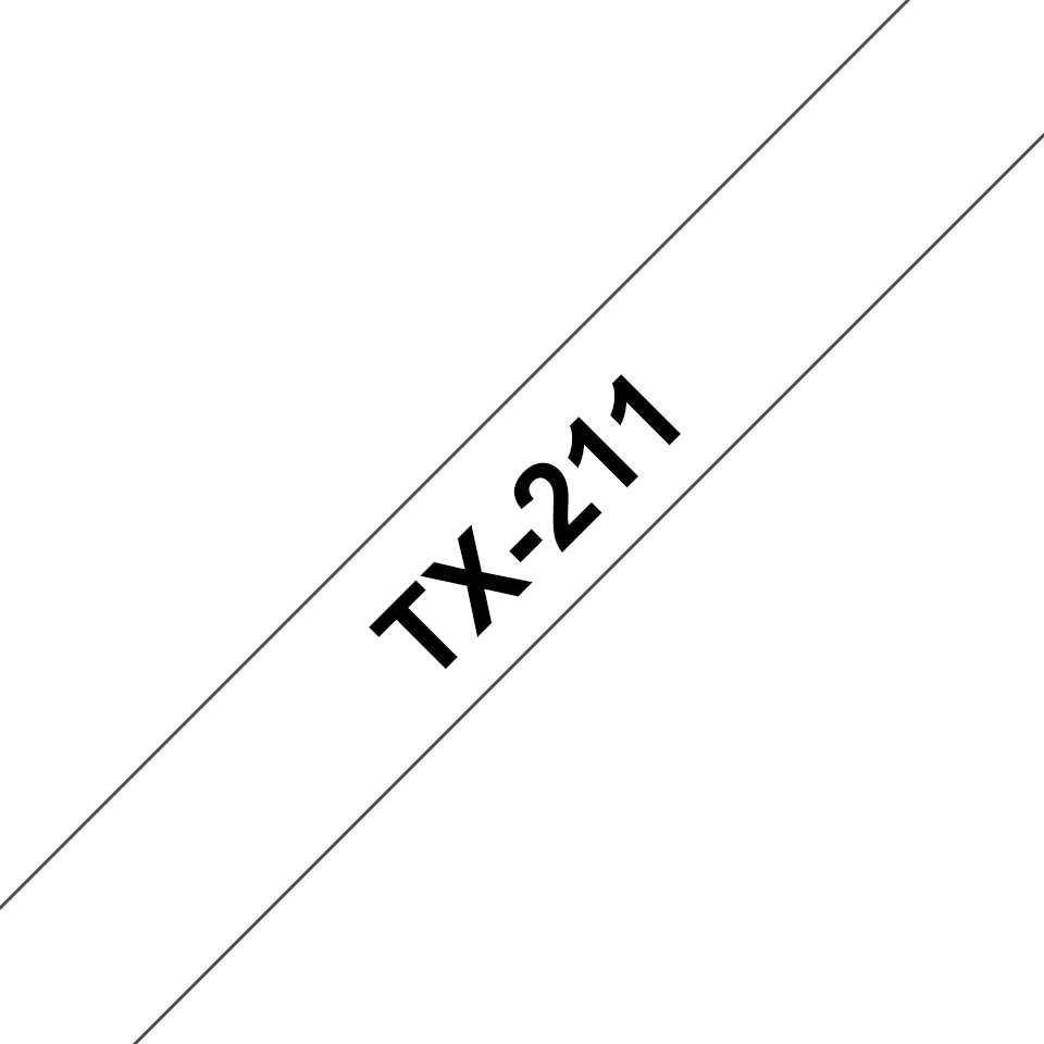 Original Brother TX211 merketape – sort på hvit, 6 mm bred