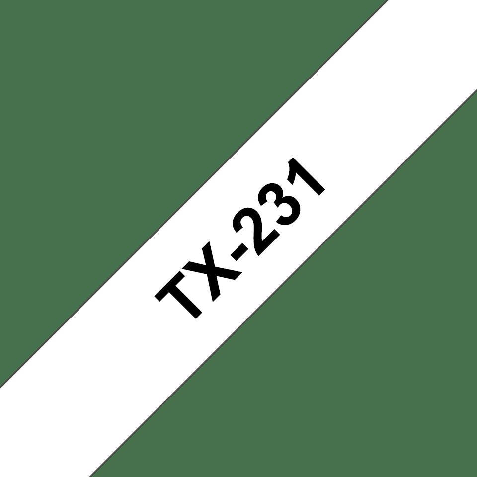 Original Brother TX231 merketape – sort på hvit, 12 mm bred