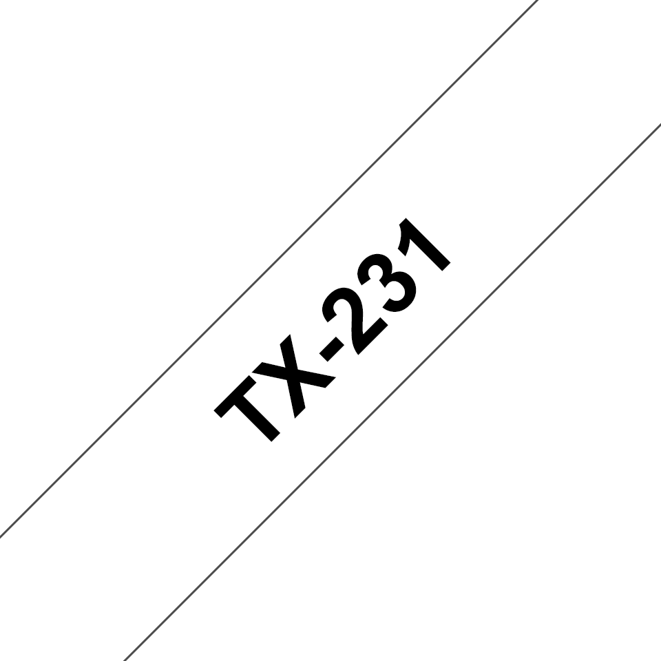 Original Brother TX231 merketape – sort på hvit, 12 mm bred