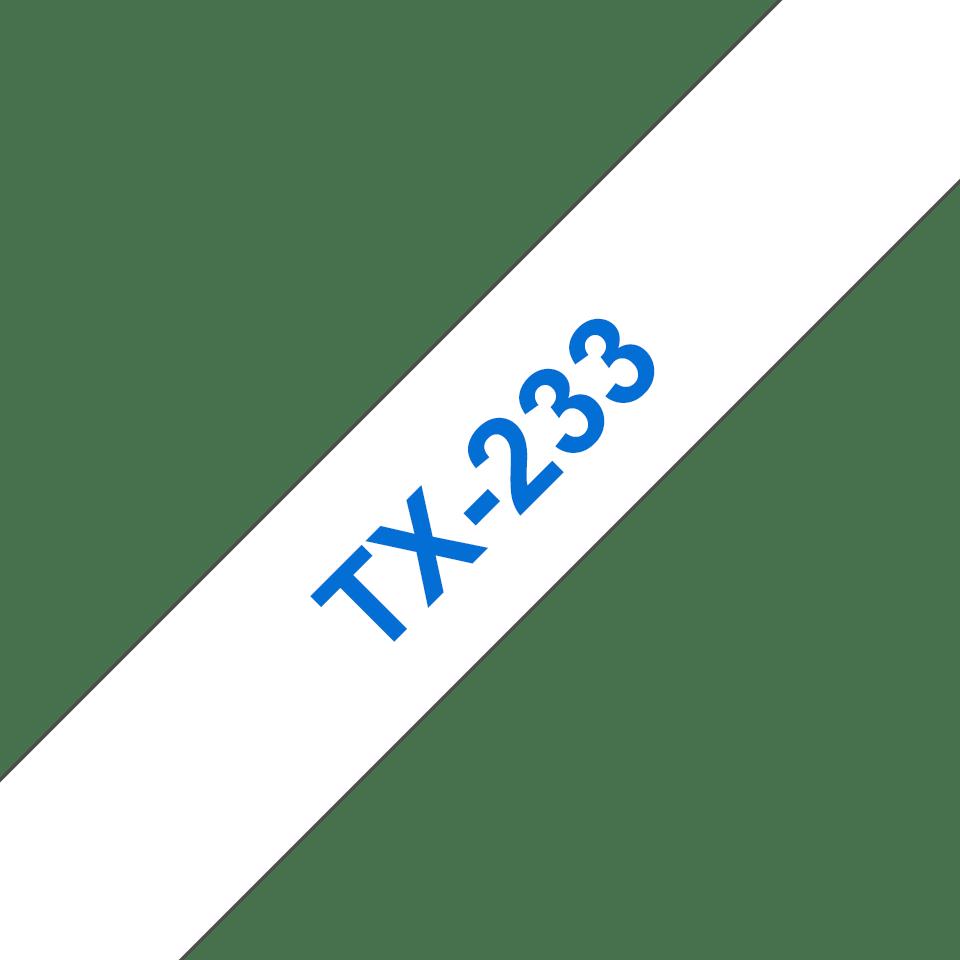 Original Brother TX233 merketape – blå på hvit, 12 mm bred
