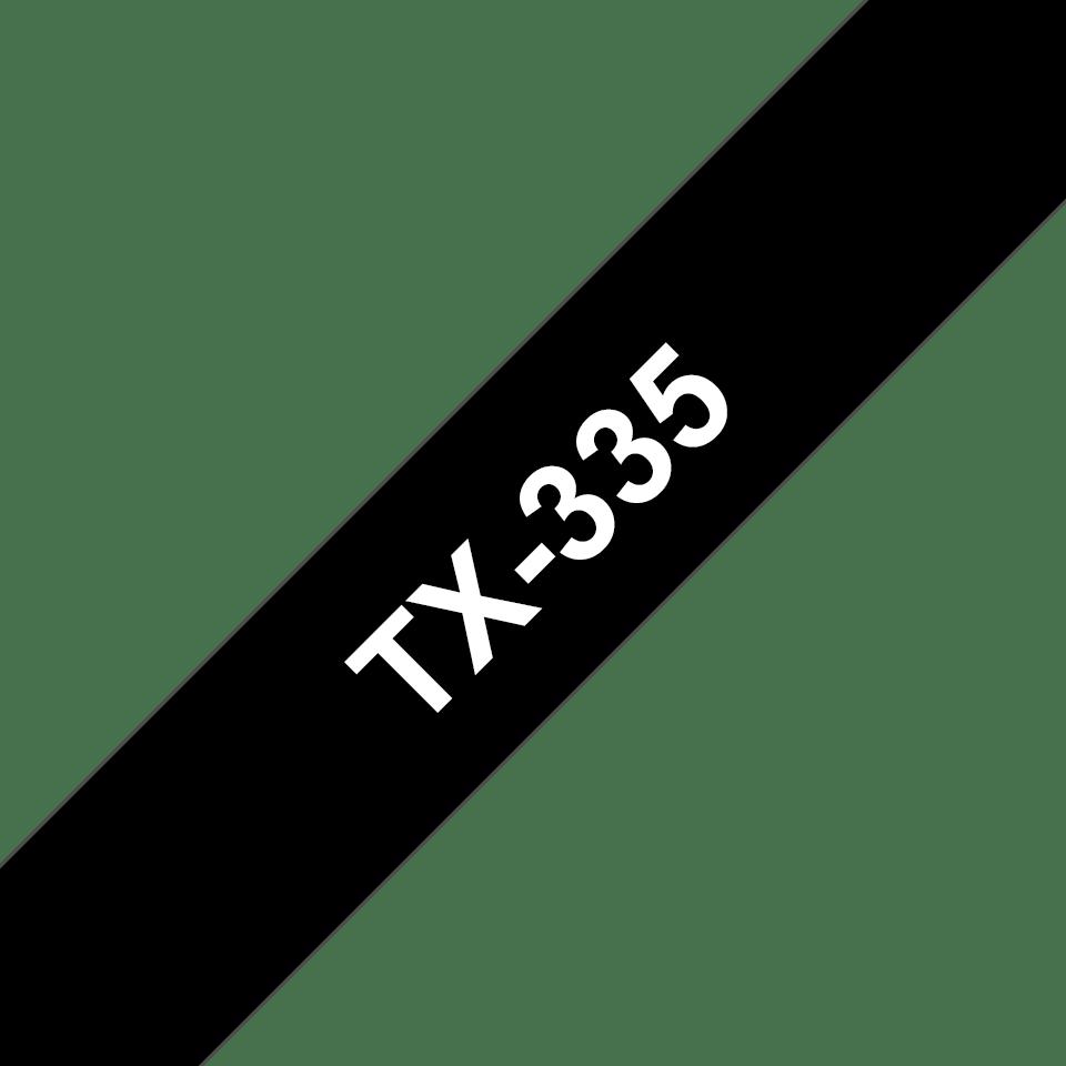 Brother TX335 hvit på sort laminert merketape – 12 mm bred