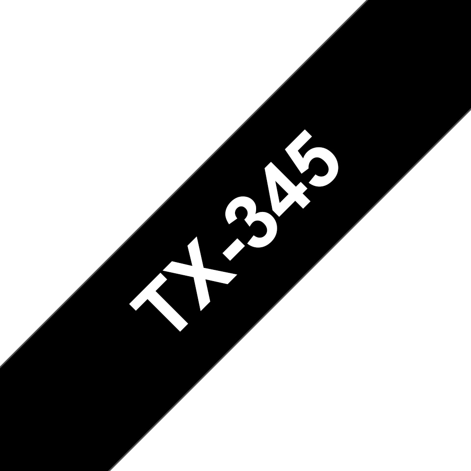 Original Brother TX345 merketape – hvit på sort, 18 mm bred