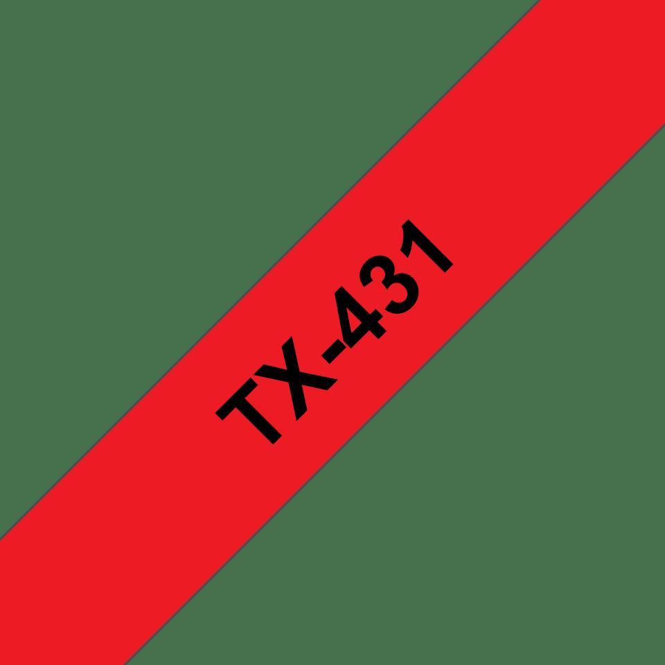 Original Brother TX431 merketape – sort på rød, 12 mm bred