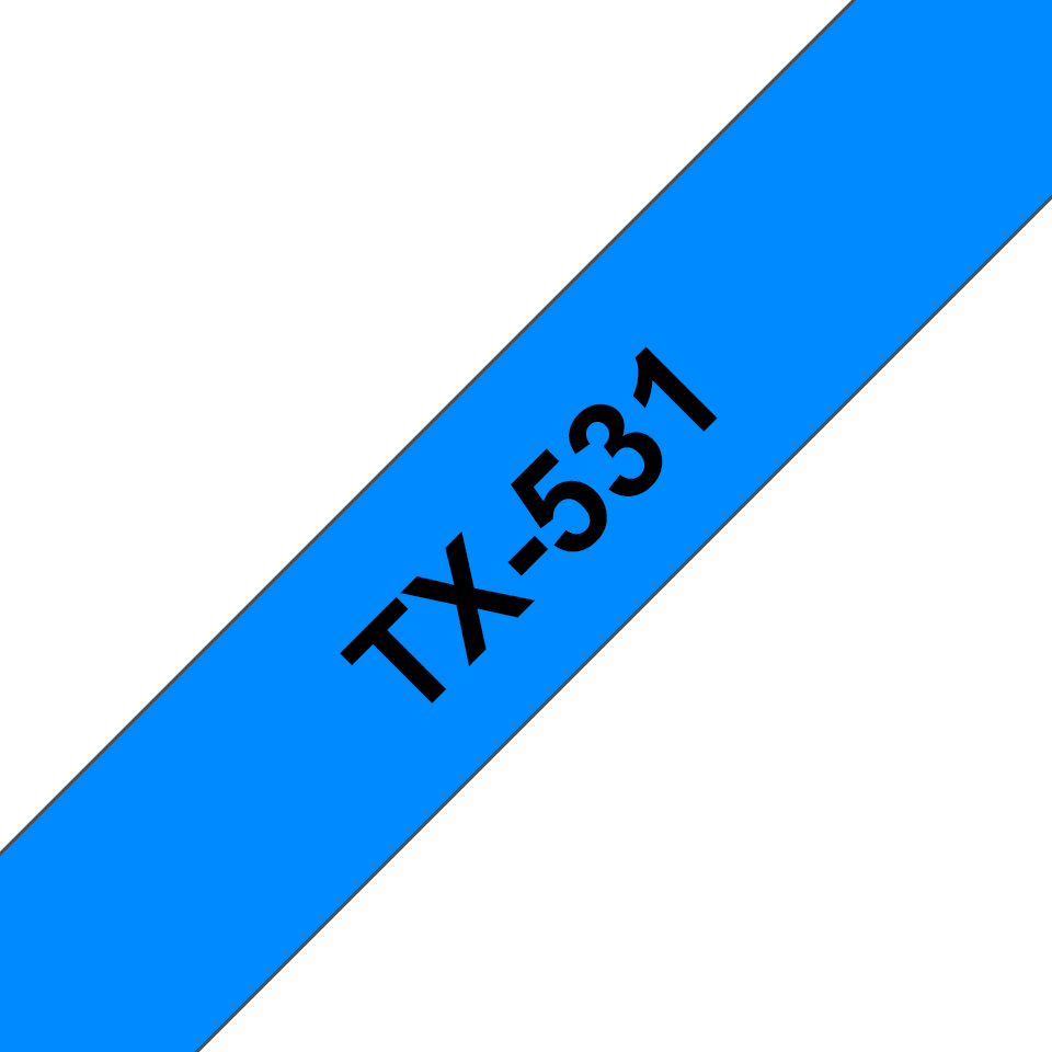 Brother original TX531 merketape - sort på blå, 12 mm bred