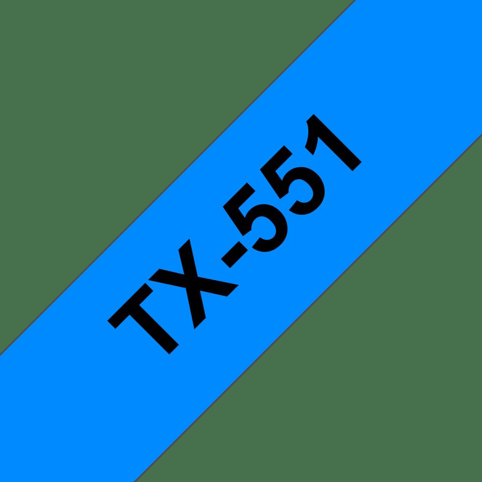 Original Brother TX551 merketape– sort på blå, 24 mm bred
