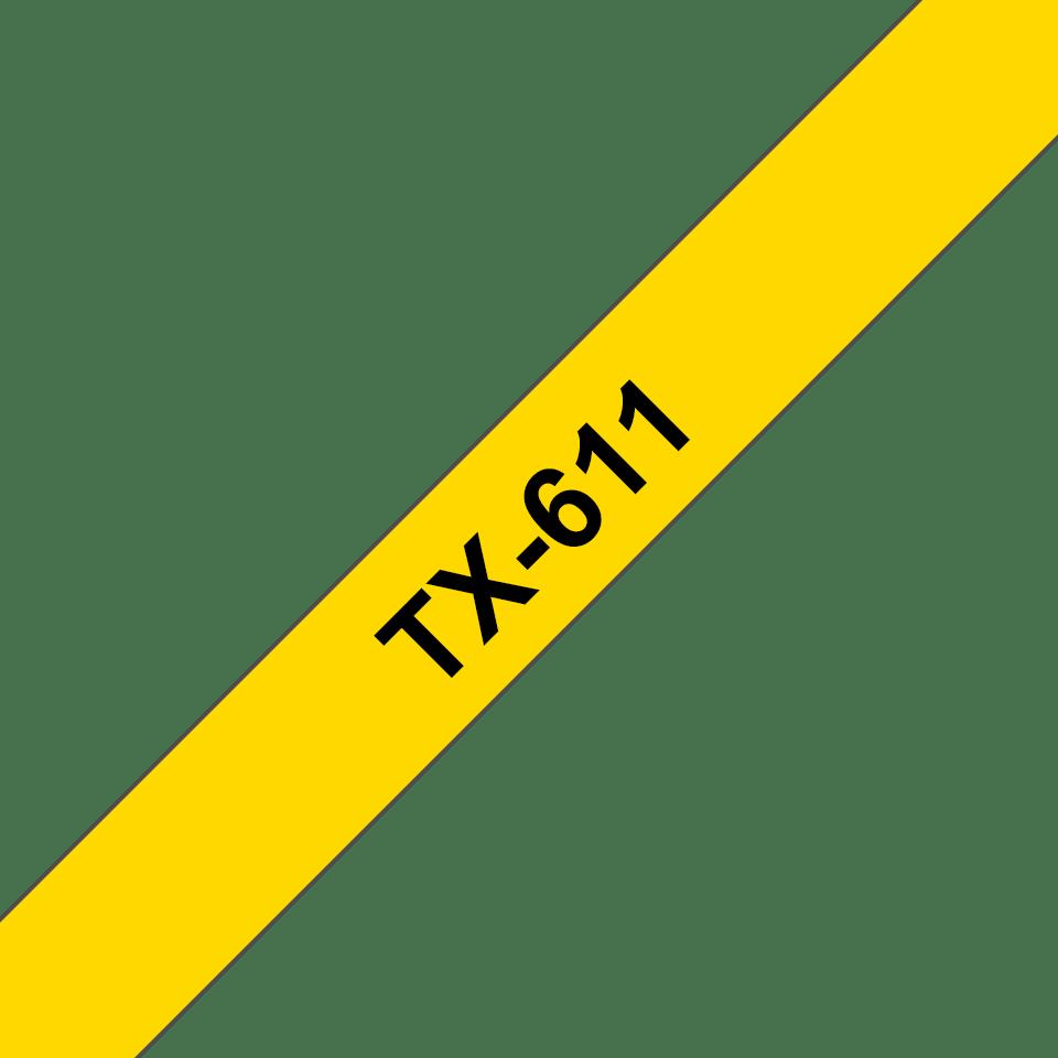 Original Brother TX611 merketape – sort på gul, 6 mm bred