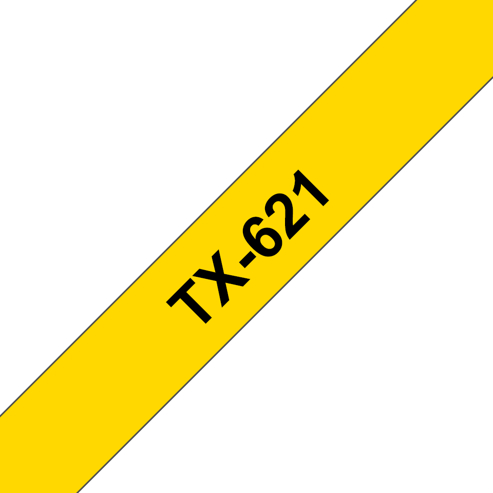 Original Brother TX621 merketape – sort på gul, 9 mm bred