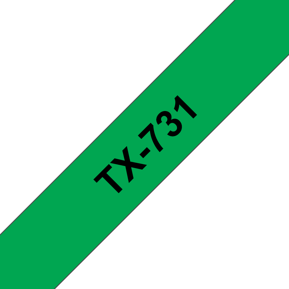 Original Brother TX731 merketape – sort på grønn, 12 mm bred