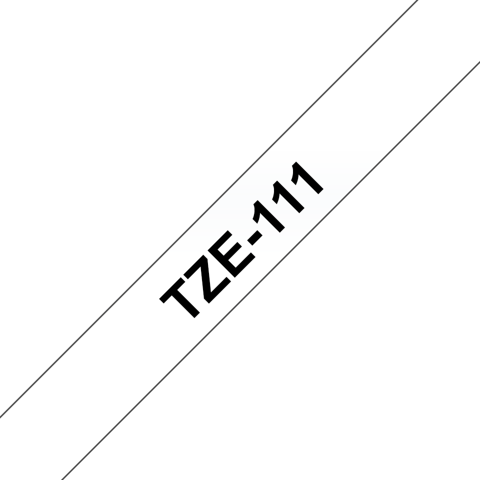 Original Brother TZe111 merketape – sort på klar, 6 mm bred