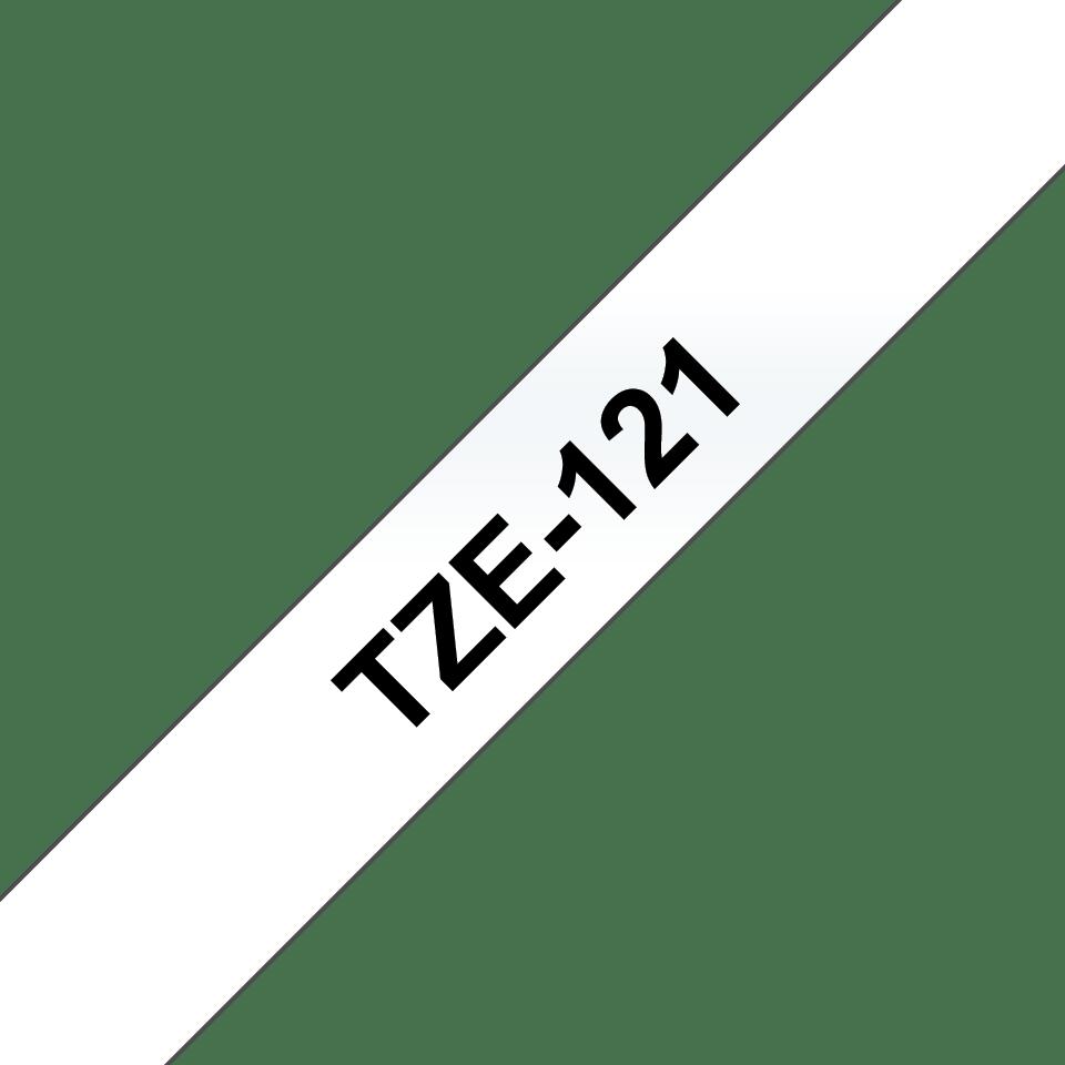 Original Brother TZe121 merketape – sort på klar, 9 mm bred 3