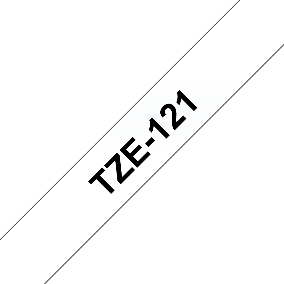 Original Brother TZe121 merketape – sort på klar, 9 mm bred