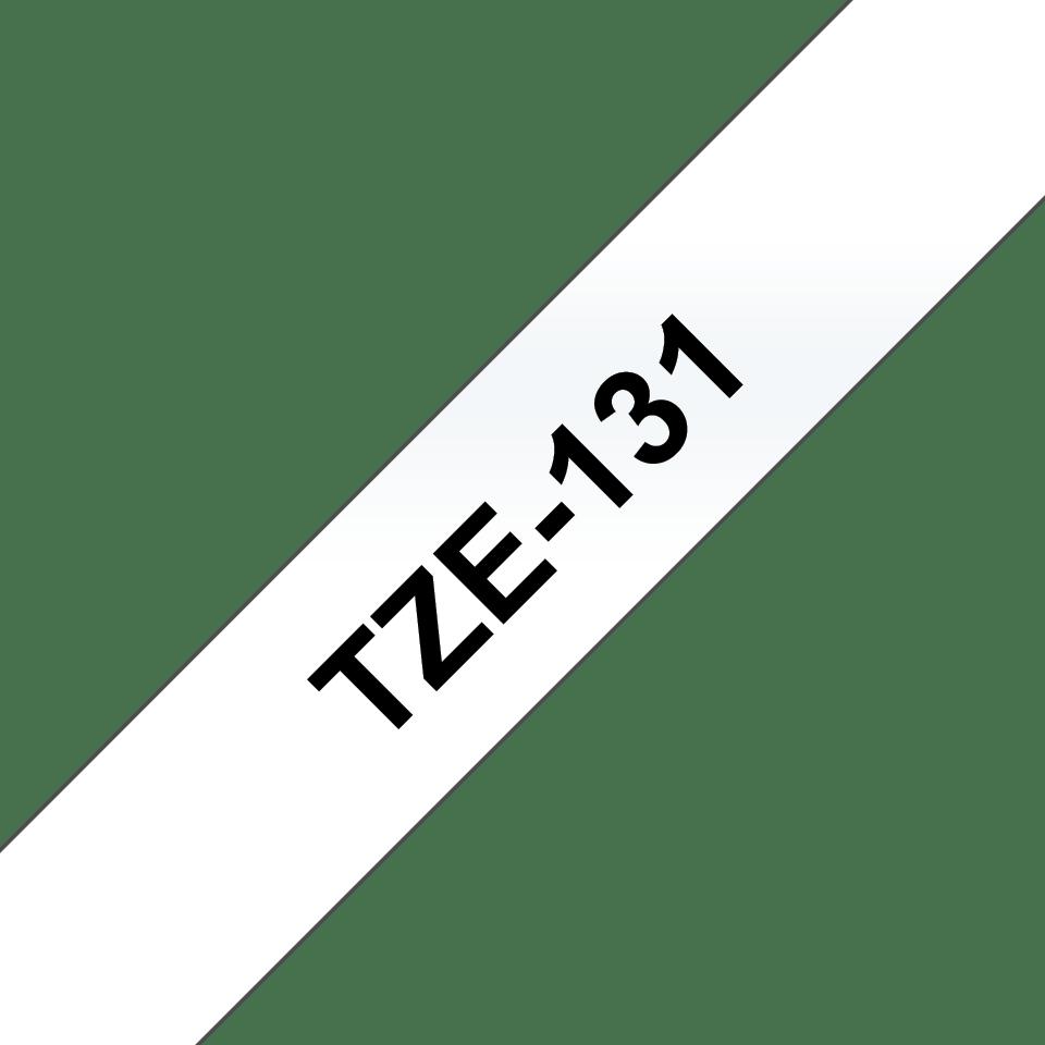 Brother original TZe131 laminert merketape sort på klar, 12 mm bred