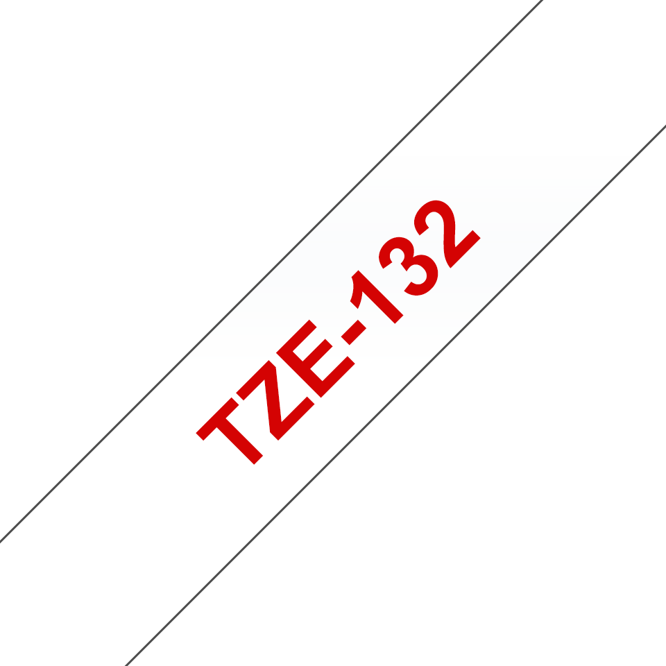 Original Brother TZe132 merketape – rød på klar, 12 mm bred