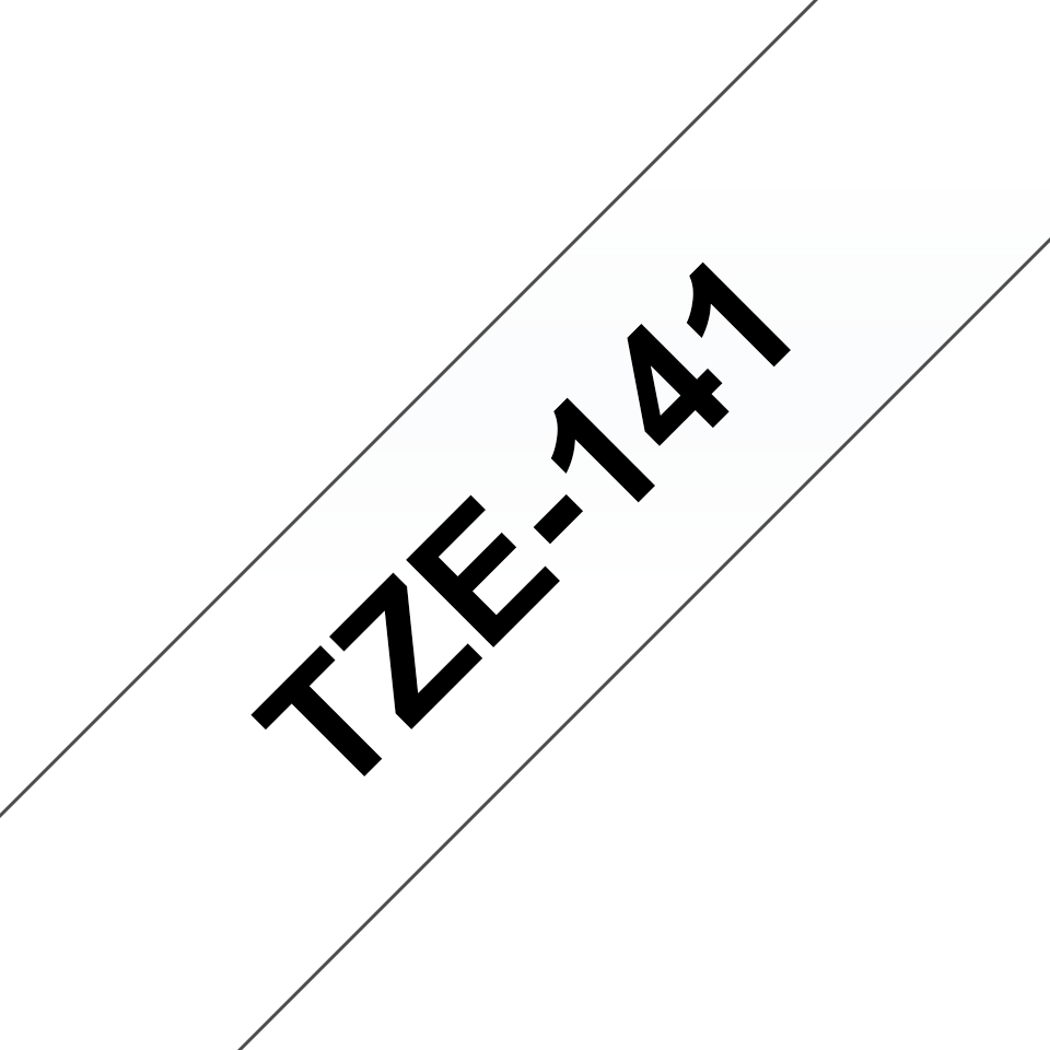 Original Brother TZe141 merketape – sort på klar, 18 mm bred